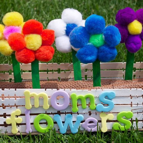 mother's day craft ideas   pom pom flower box