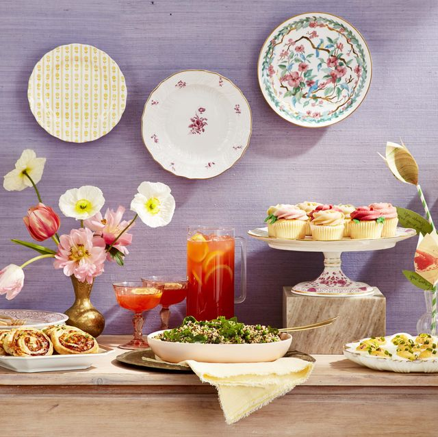 spring party, mother's day brunch menu ham and cheese pinwheels, strawberry and sparkling rosé punch, vanilla cupcakes, farro and quinoa salad with spinach and peas, pimiento cheese deviled eggs