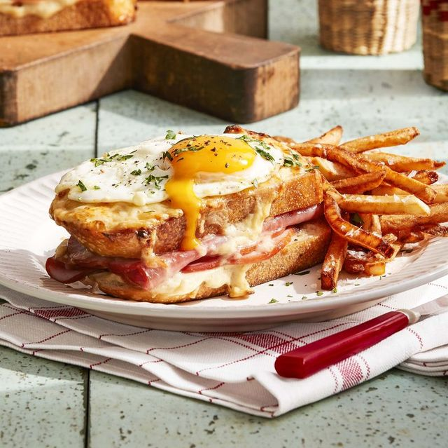 plate of croque madame with a side of frites