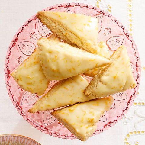 petit orange vanilla scones on pink plate