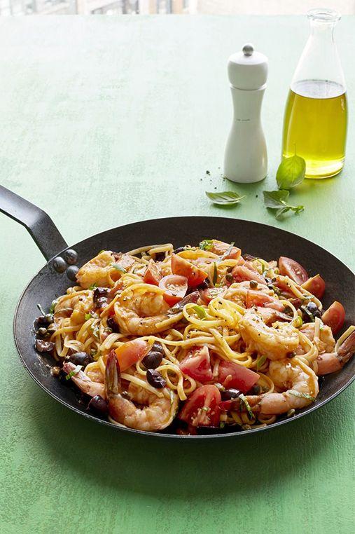 Shrimp Linguine Puttanesca for Mother's Day Dinner