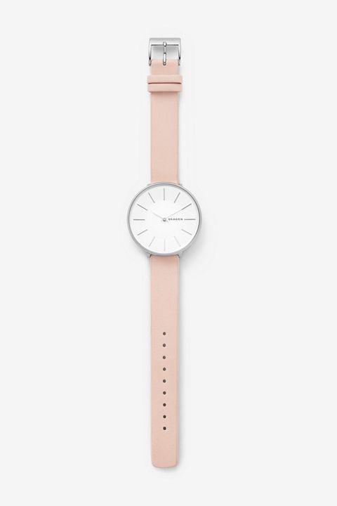 blush leather watch