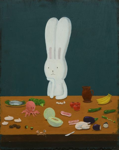 Still life, Painting, Rabbits and Hares, Rabbit, Still life photography, Visual arts, Art, Illustration, Hare, Child art,
