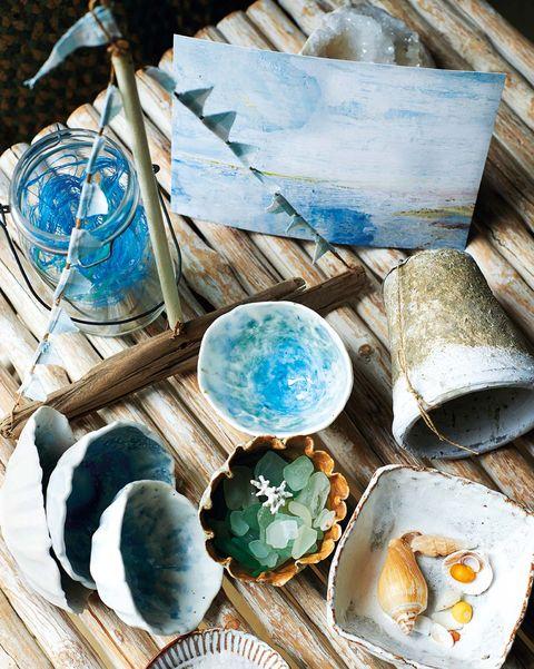 decoración playera cristales y conchas de la playa