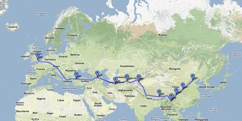 Map of Silk Road and Tibet motorcycle journey.