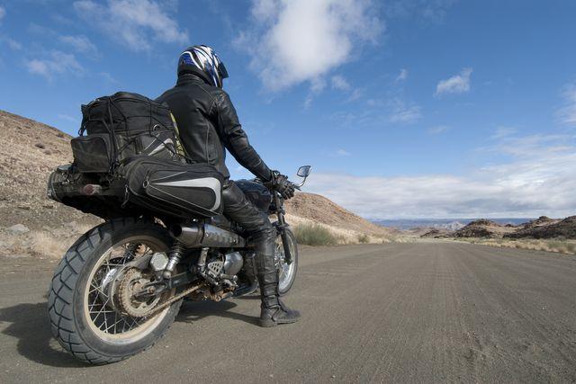 motorcyclist stops to appreciate view