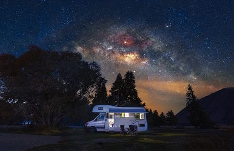 motorhome at free camp site with milky way sky in new zealand