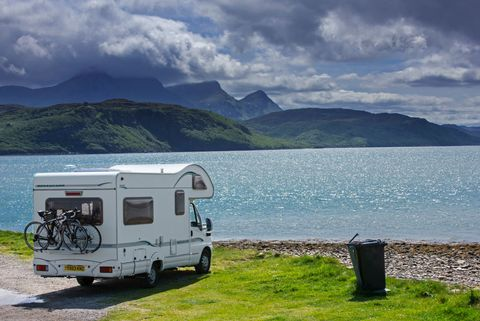 Motorhome parked on the shore along Kyle of Tongue.