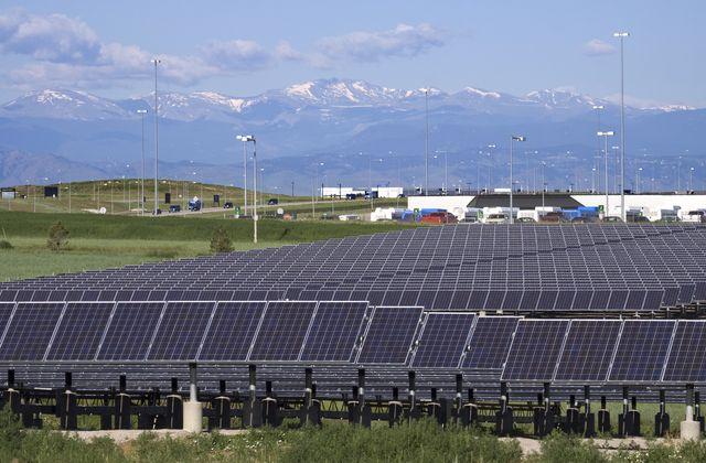 mount evans and solar panels at denver international airport