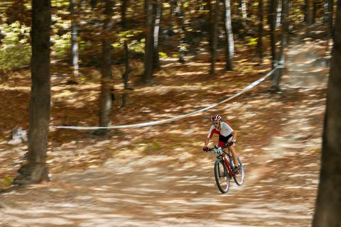 Mountain biker in fast movement