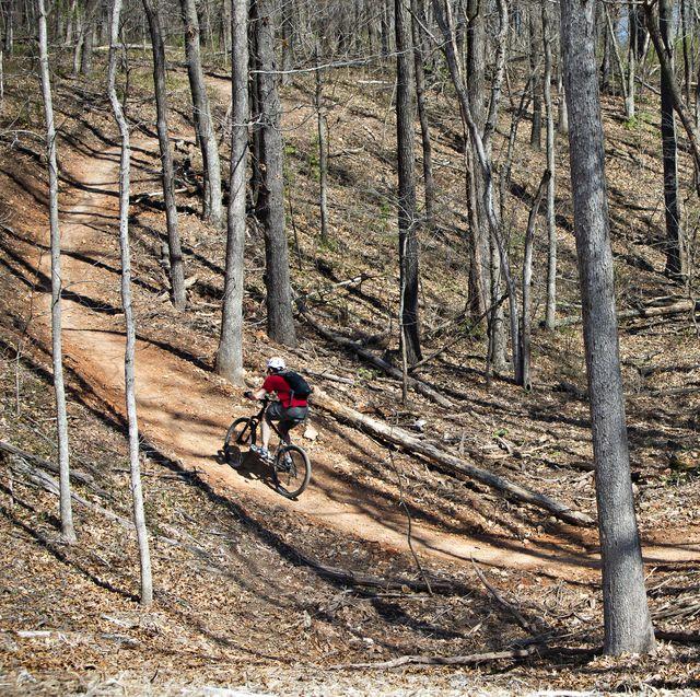 mountain biker on arkansas trail