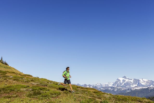 mountain trail running in the north cascades