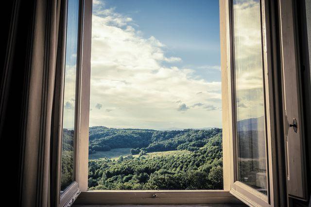 mountains seen through window