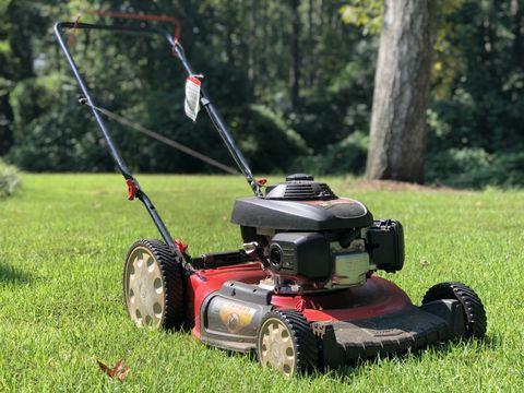Lawn, Mower, Edger, Lawn mower, Walk-behind mower, Grass, Vehicle, Grassland, Outdoor power equipment, Lawn aerator,