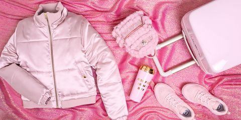Pink, Clothing, Outerwear, Peach, Jacket, Hood, Magenta, Sleeve, Coat,