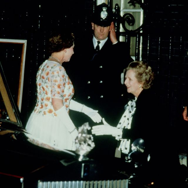 mrs margaret thatcher greets queen elizabeth ii on her arrival at 10 downing street to celebrate it's 250th anniversary