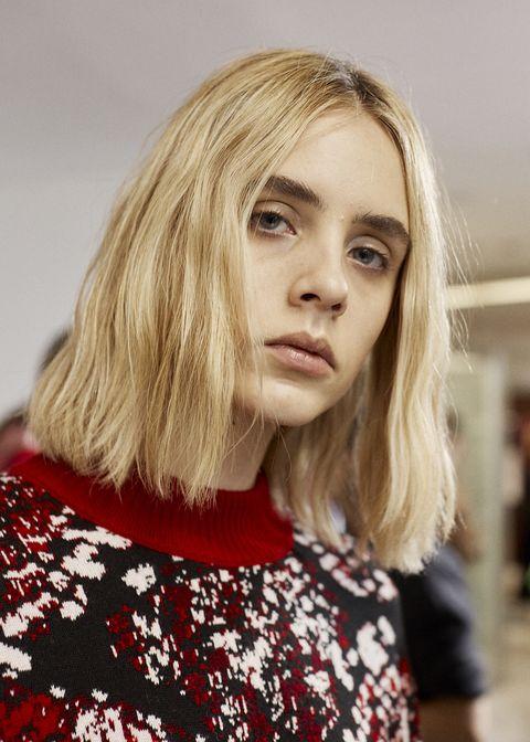 Hair, Face, Blond, Hairstyle, Lip, Beauty, Eyebrow, Chin, Fashion, Long hair,