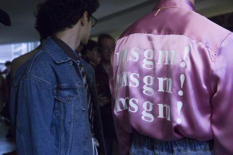 Pink, Purple, Jacket, Product, Outerwear, Textile, Leather jacket, Sleeve, Shirt, Font,