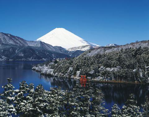 Mt. Fuji and Lake Ashino in winter, Hakone town, Kanagawa prefecture, Japan