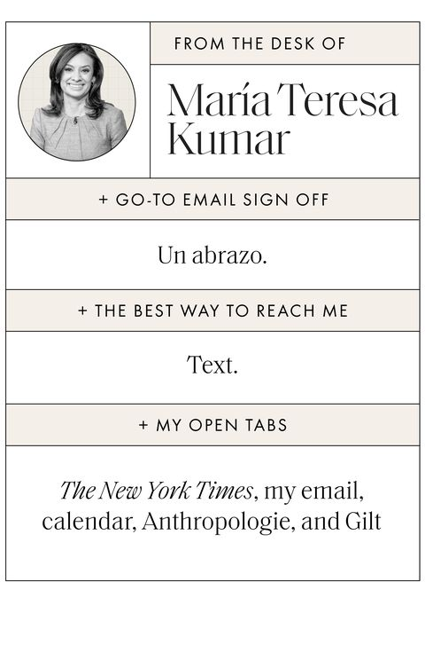 """sidebar text that reads email sign off """"un abrazo,"""" best way to reach me text, my open tabs the new york times, my email, calendar, anthropologie, and gilt"""