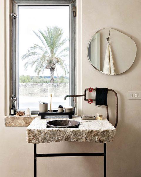 mueble de lavabo de piedra