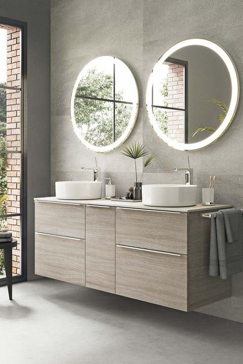 para el baño mueble para dos lavabos en gris, modelo storia