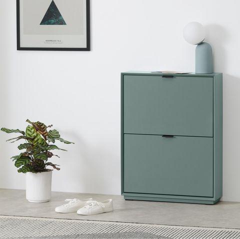mueble zapatero de estilo nórdico en color azul piedra
