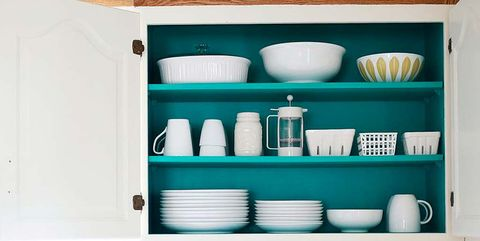 Shelf, Kitchen, White, Room, Furniture, Countertop, Turquoise, Cabinetry, Shelving, Hutch,
