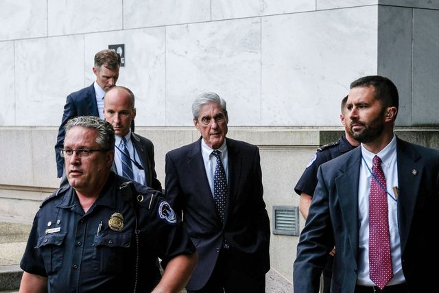 washington, dc   july 24 former special counsel robert mueller center is seen leaving after testifying to the house judiciary committee about his report on russian interference in the 2016 presidential election on capitol hill on july 24, 2019 in washington, dc mueller dismissed president trump's claims of total exoneration before the house judiciary committee earlier in the day on wednesday photo by alex wroblewskigetty images