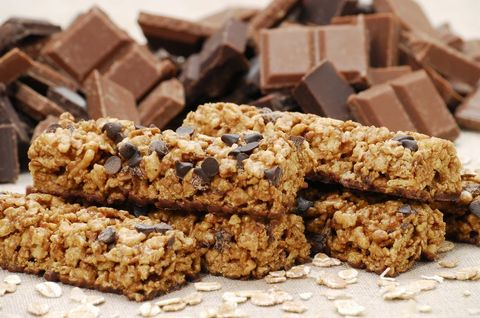 Muesli bars with chocolate chips and pieces of chocolate, close up