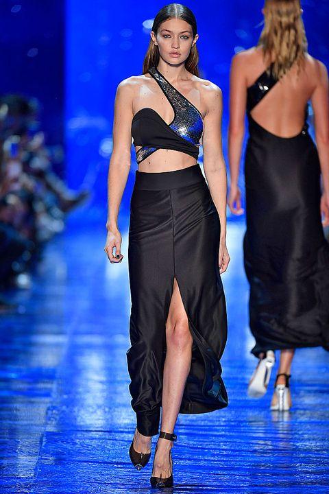 Fashion model, Fashion, Fashion show, Runway, Clothing, Dress, Event, Haute couture, Shoulder, Fashion design,