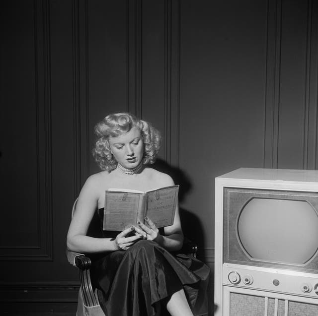 american actress dagmar 1921   2001 reading a book of 'comic characters of shakespeare' by john palmer, circa 1950  photo by graphic housearchive photosgetty images