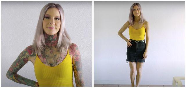 mujer con y sin tatuajes