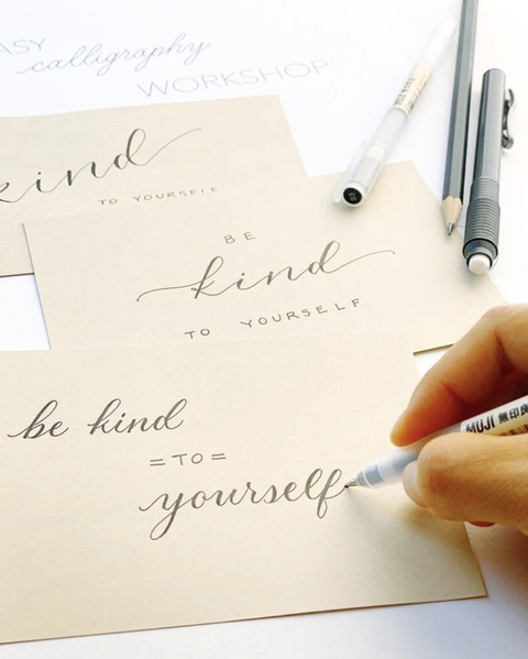 positive notes written in cursive with muji pen