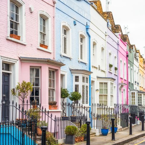 Multi-coloured street of houses in Chelsea, London