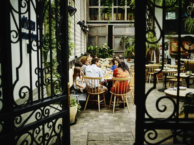 multi generational family dining in restaurant