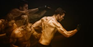 Multiple Exposure - Muscular man in combat pose