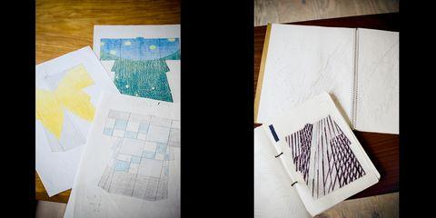 村上さん(左)と二塚さん(右)の図案とスケッチ