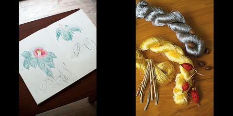 二塚長生さんの椿のスケッチと村山涼子さんの草木染の糸