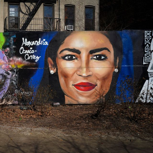 Mural Of Rep. Alexandria Ocasio-Cortez (D-NY) Painted On New York's Lower East Side
