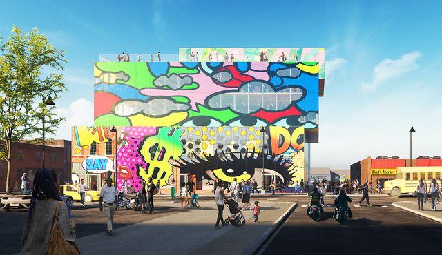 glass mural un edificio en detroit, estados unidos pintado con gaffitis, del estudio de arquitectura mvrdv