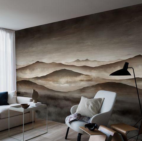 mural con dibujo de un paisaje crepuscular