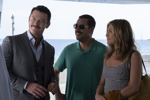 Murder Mystery: Luke Evans as Charles Cavendish, Adam Sandler as Nick Spitz and Jennifer Aniston as Audrey Spitz