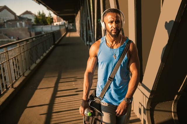 muscular man in sportswear walking to the gym