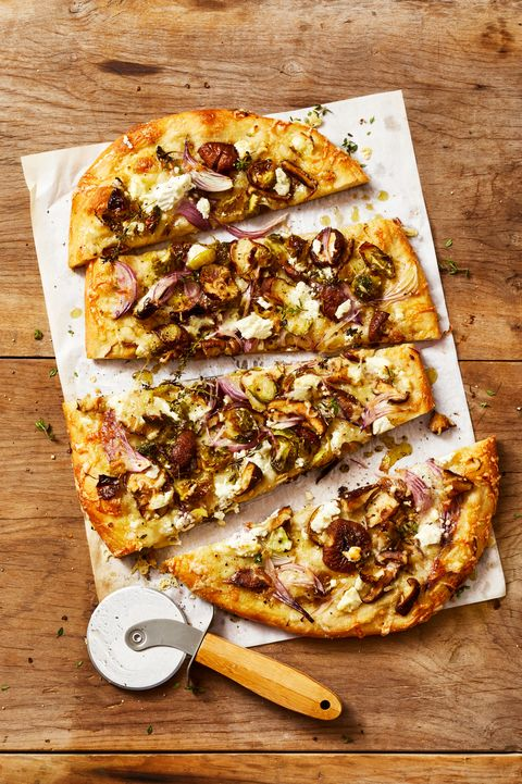 mushroom and brussels sprouts pizza