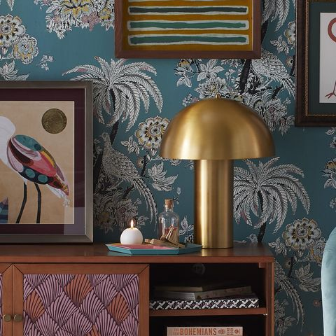 Room, Furniture, Lampshade, Wallpaper, Wall, Lamp, Interior design, Lighting accessory, Table, Pattern,