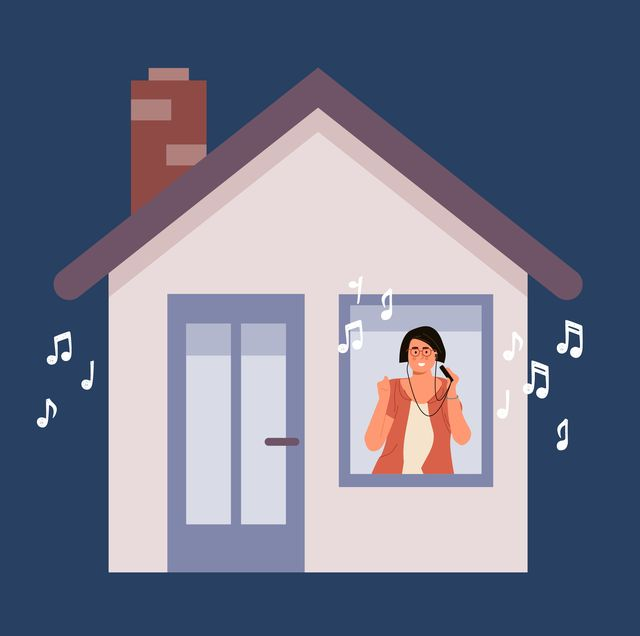 illustration of woman in house listening to music