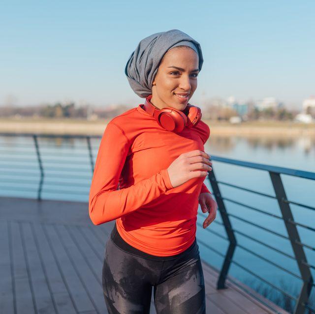 muslim woman jogging