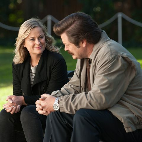 parks and recreation    one last ride episode 712713    pictured l r amy poehler as leslie knope, nick offerman as ron swanson    photo by colleen hayesnbc