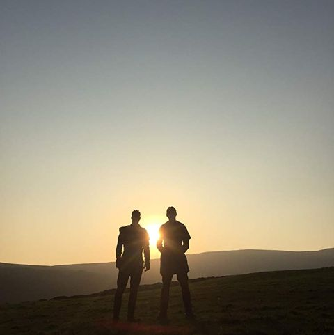 Sky, Landscape, People in nature, Interaction, Horizon, Astronomical object, Sunlight, Friendship, Space, Sand,